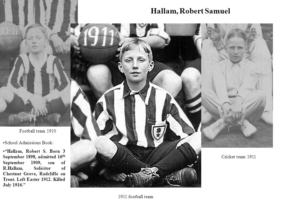 Hallam, Robert Samuel Football team 1910 School Admissions Book:
