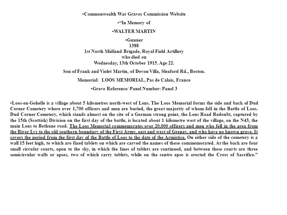 Commonwealth War Graves Commission Website In Memory of WALTER MARTIN