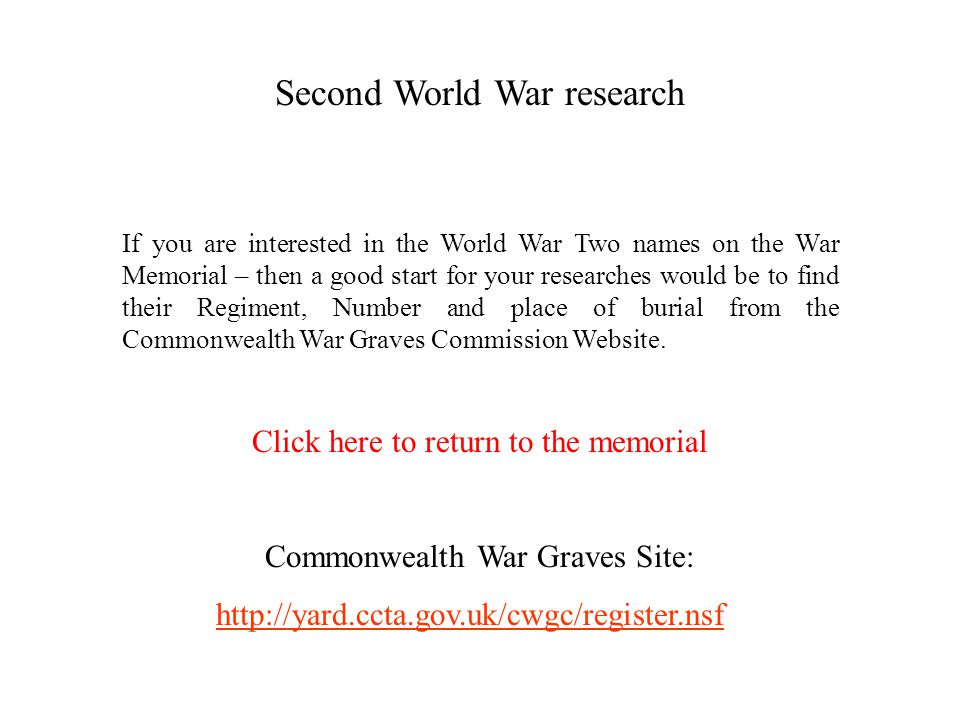 Second World War research