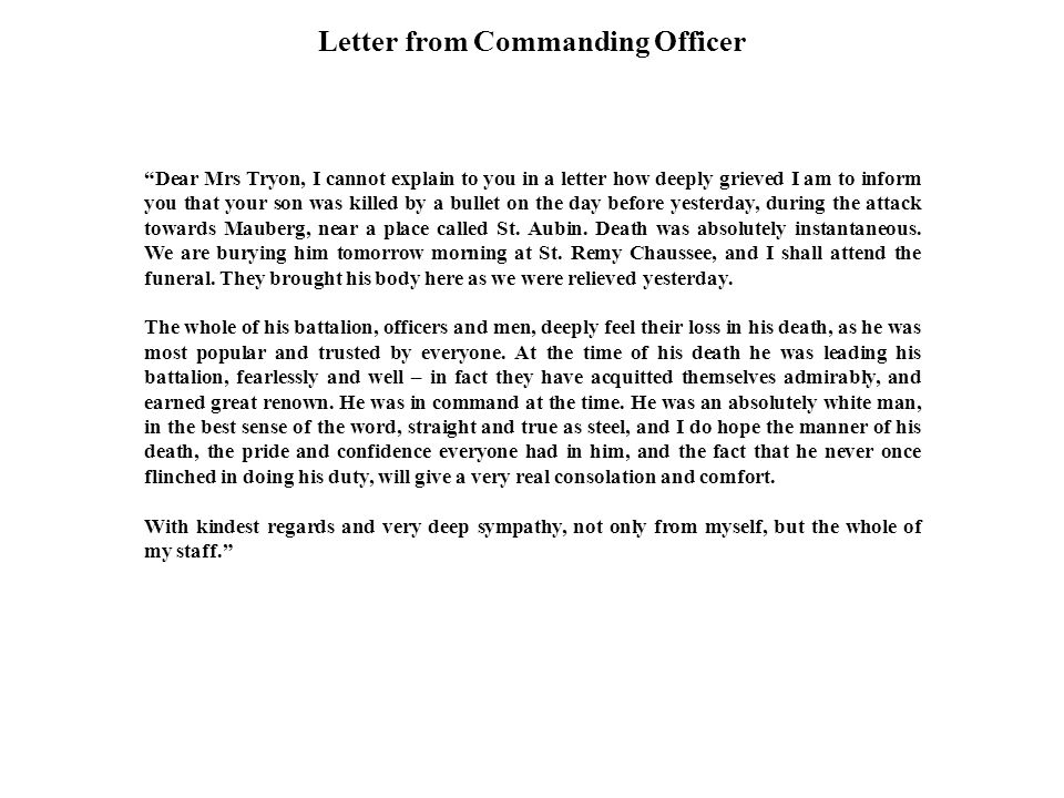 Letter from Commanding Officer