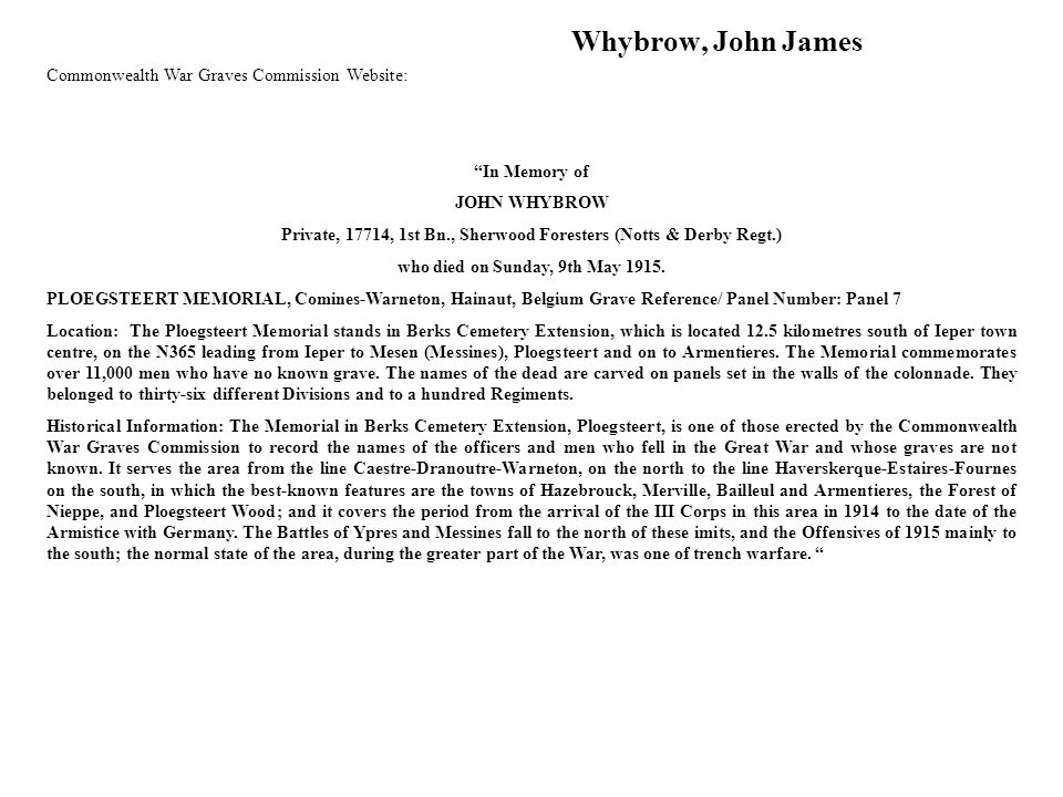 Whybrow, John James Commonwealth War Graves Commission Website: