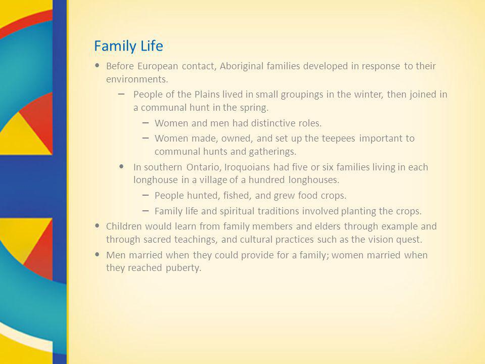 Family Life Before European contact, Aboriginal families developed in response to their environments.