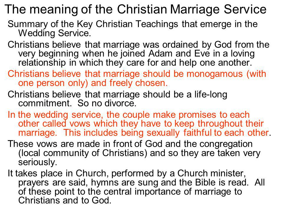 The meaning of the Christian Marriage Service