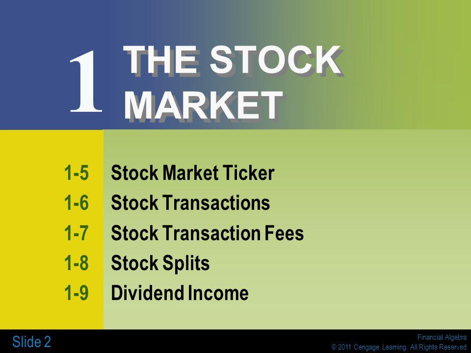 1 The Stock Market 1 1 Business Organization 1 2 Stock Market Data