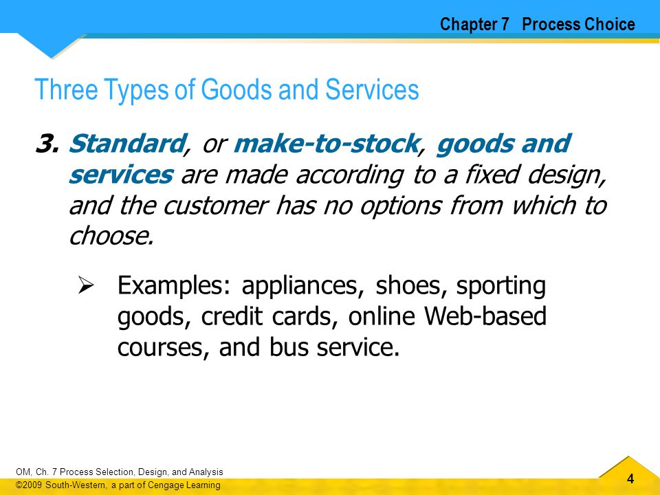 Three Types of Goods and Services