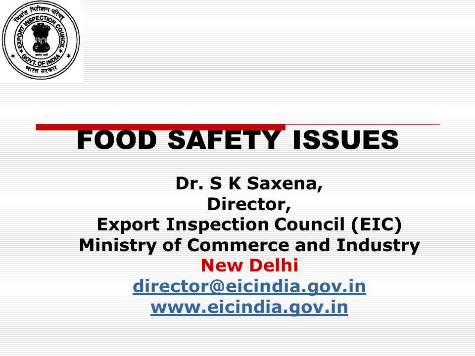 Export Inspection Council (EIC) Ministry of Commerce and Industry