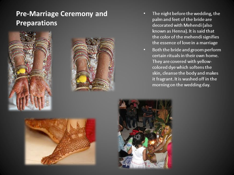 Pre-Marriage Ceremony and Preparations