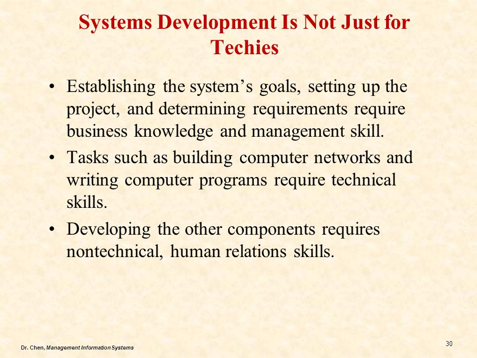 Systems Development Is Not Just for Techies