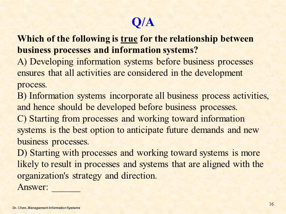 Q/A Which of the following is true for the relationship between business processes and information systems