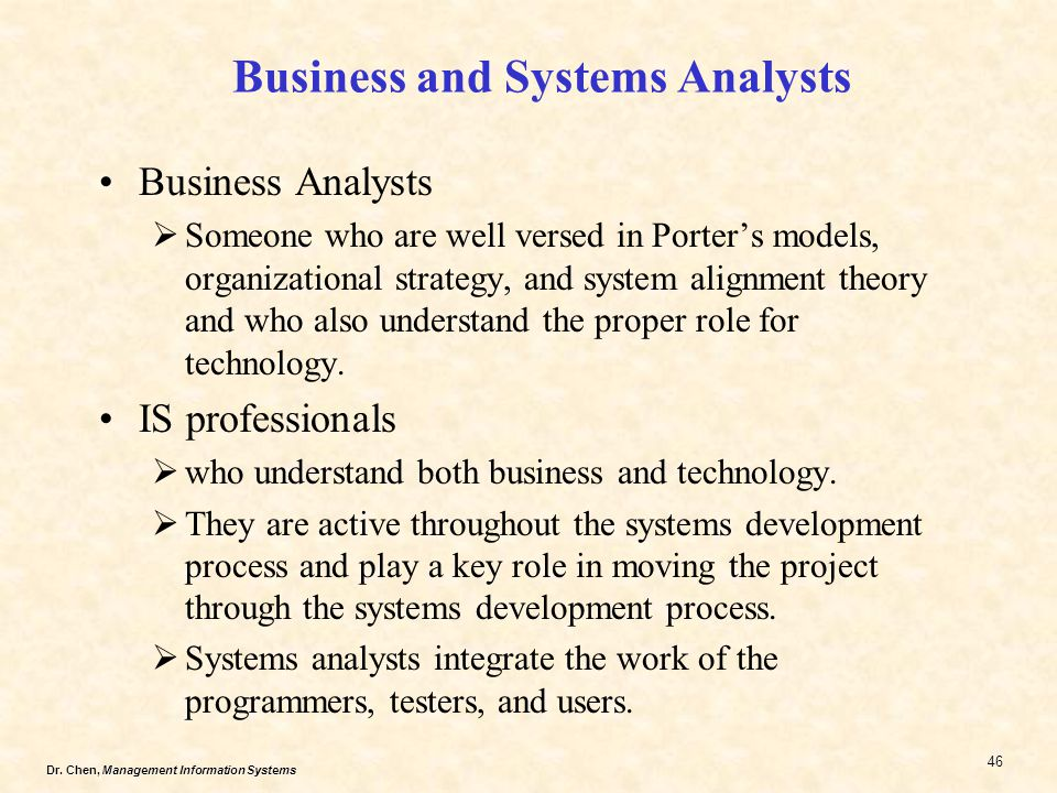 Business and Systems Analysts