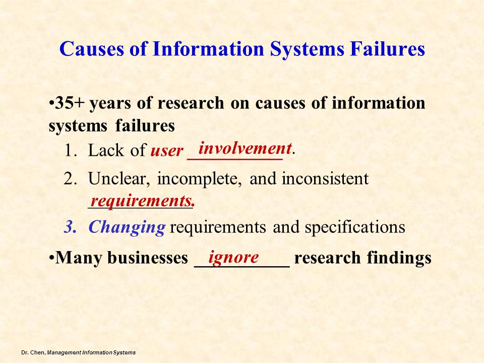 Causes of Information Systems Failures