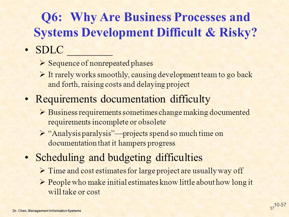 Q6: Why Are Business Processes and Systems Development Difficult & Risky