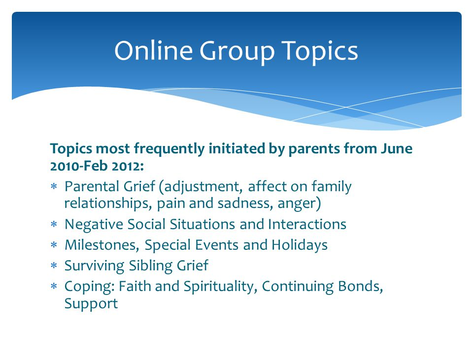 Online Group Topics Topics most frequently initiated by parents from June 2010-Feb 2012:
