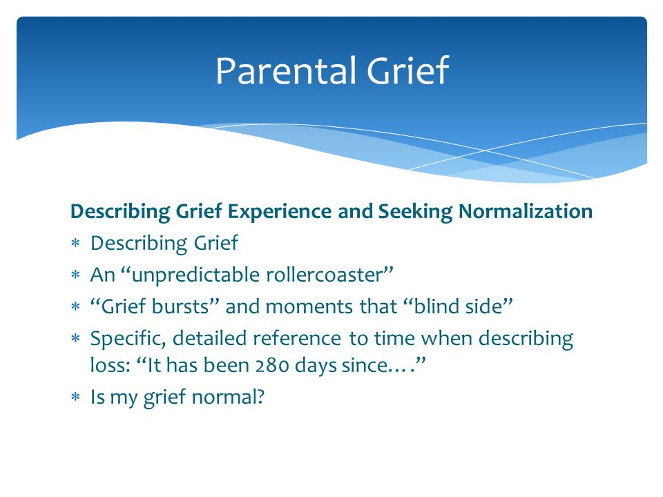 Parental Grief Describing Grief Experience and Seeking Normalization