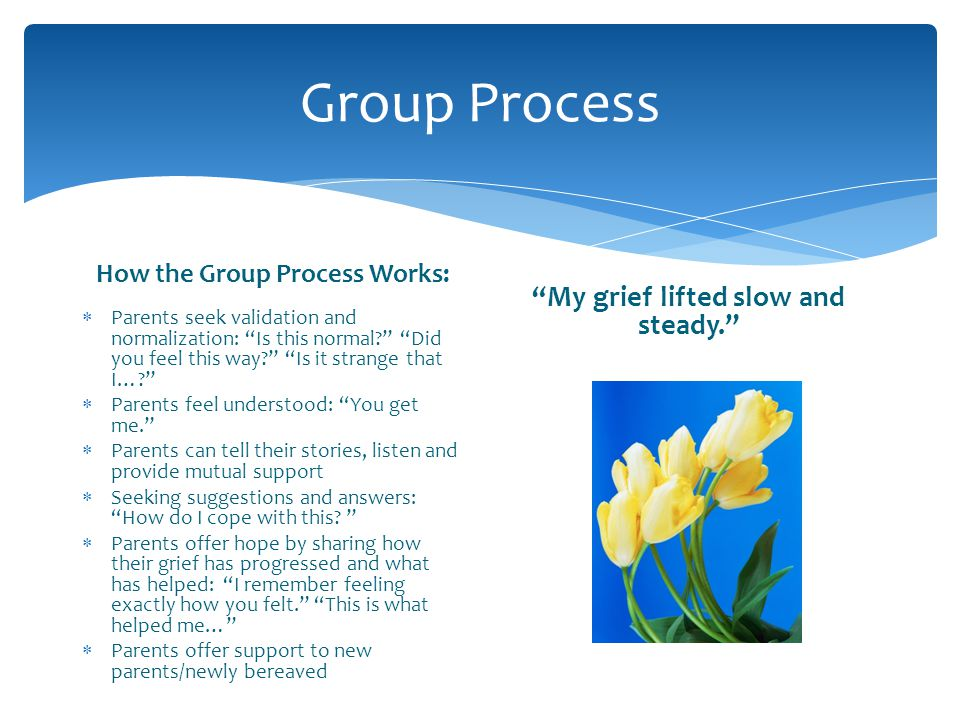 How the Group Process Works: My grief lifted slow and steady.