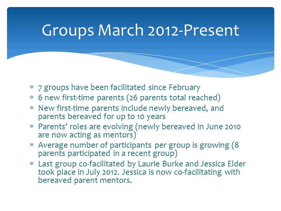 Groups March 2012-Present 7 groups have been facilitated since February. 6 new first-time parents (26 parents total reached)