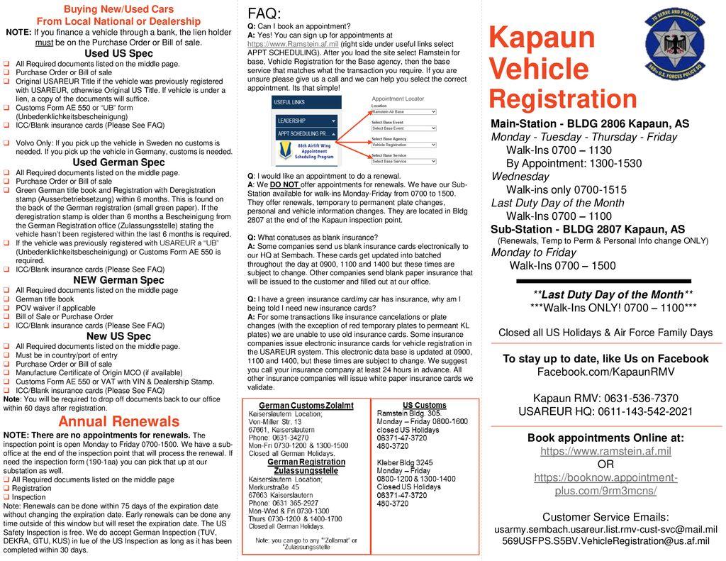 Kapaun Vehicle Registration FAQ: Annual Renewals - ppt download