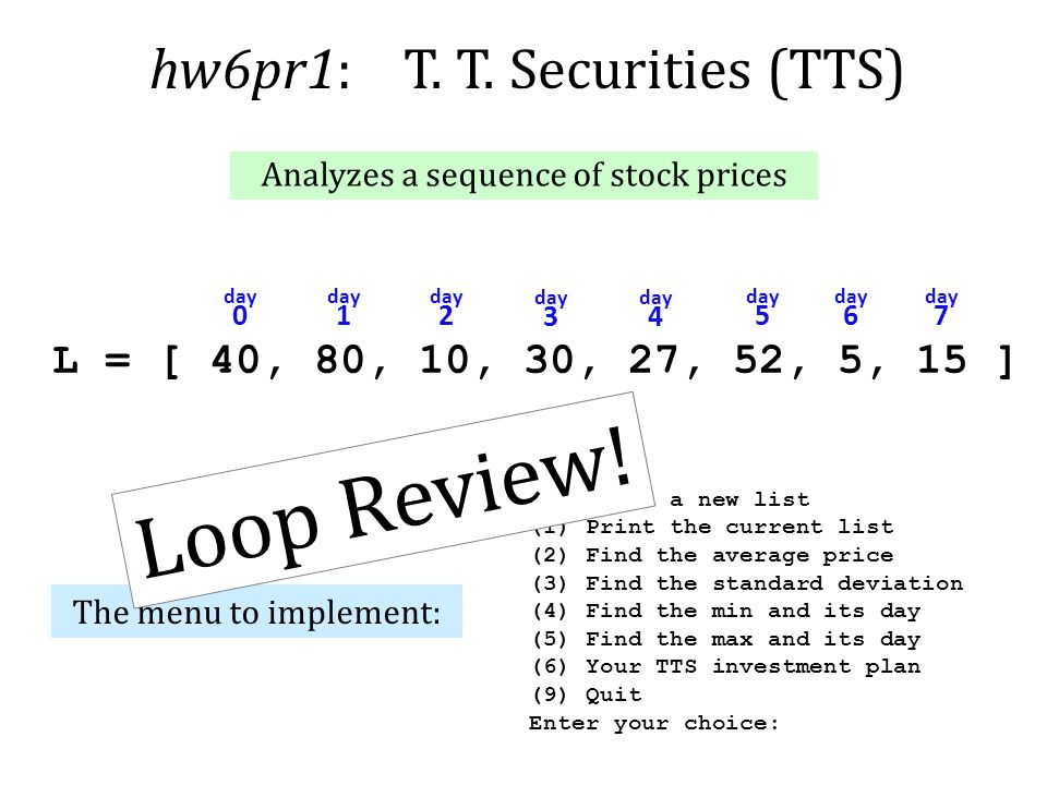 Loop Review! hw6pr1: T. T. Securities (TTS)