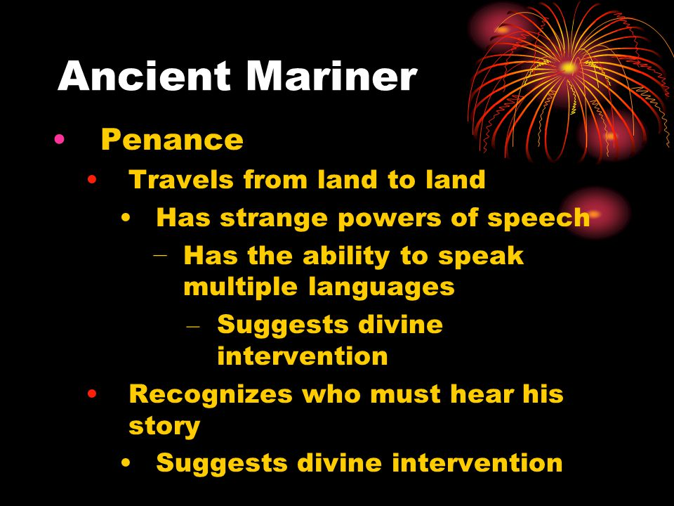 Ancient Mariner Penance Travels from land to land