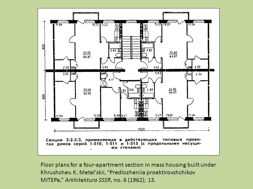 Floor plans for a four-apartment section in mass housing built under Khrushchev.