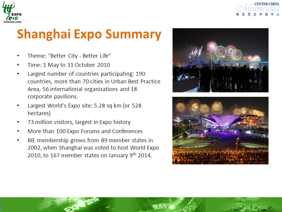 Shanghai Expo Summary Theme: Better City - Better Life