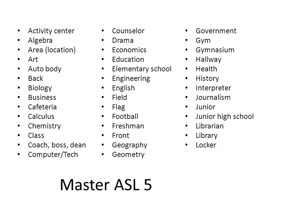 Master ASL 5 Activity center Counselor Government Algebra Drama Gym