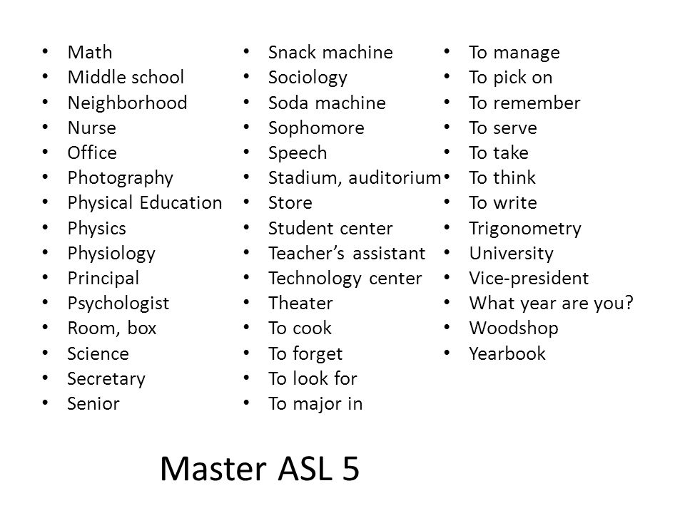 Master ASL 5 Math Snack machine To manage Middle school Sociology