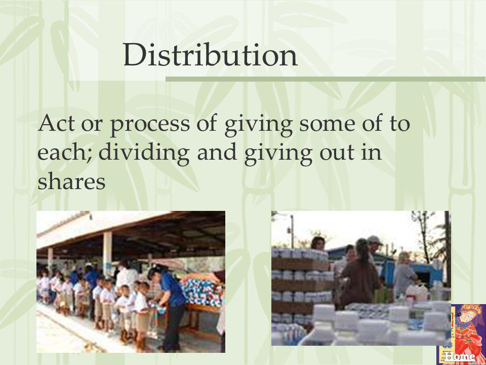 Distribution Act or process of giving some of to each; dividing and giving out in shares