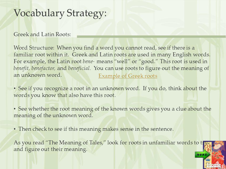 Vocabulary Strategy: Greek and Latin Roots: