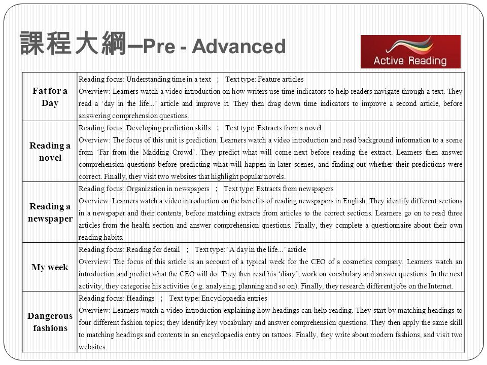 課程大綱–Pre - Advanced Fat for a Day Reading a novel Reading a newspaper