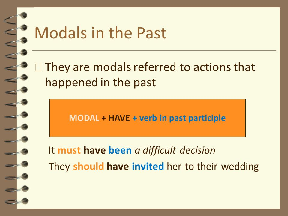 MODAL + HAVE + verb in past participle