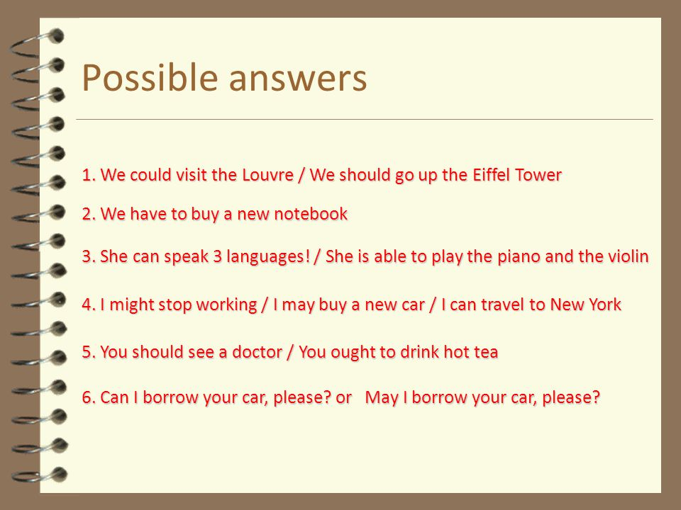 Possible answers 1. We could visit the Louvre / We should go up the Eiffel Tower. 2. We have to buy a new notebook.