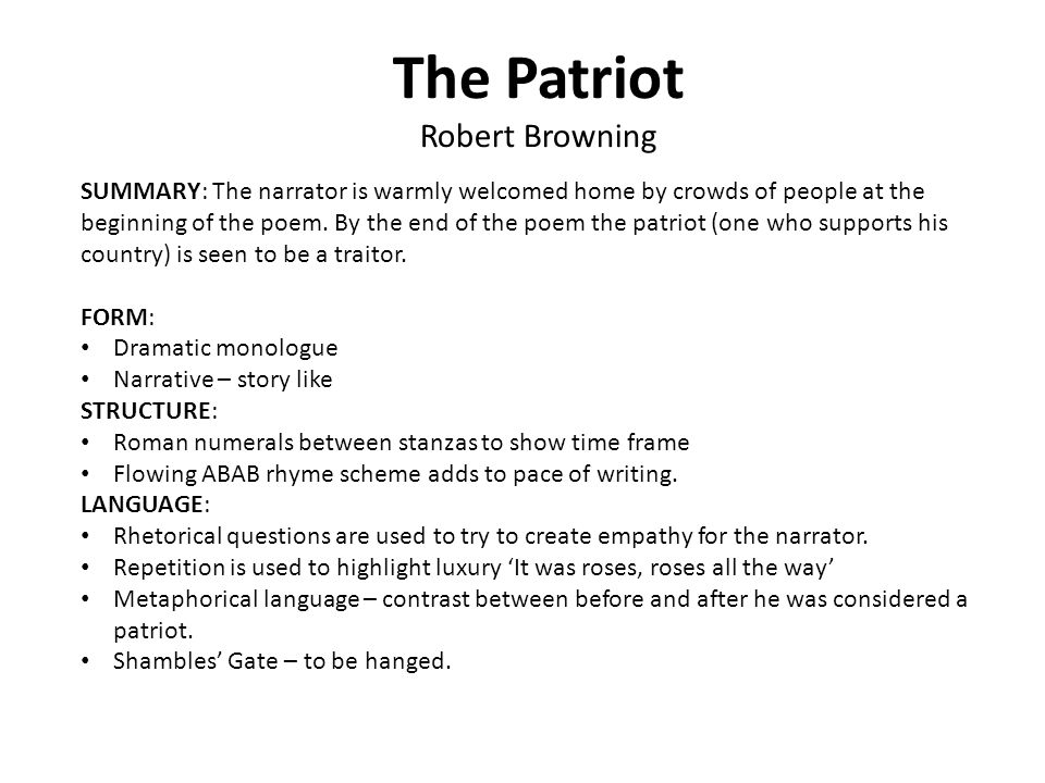 As level english literature poetry revision ppt video online download 3 the patriot robert browning ccuart Images