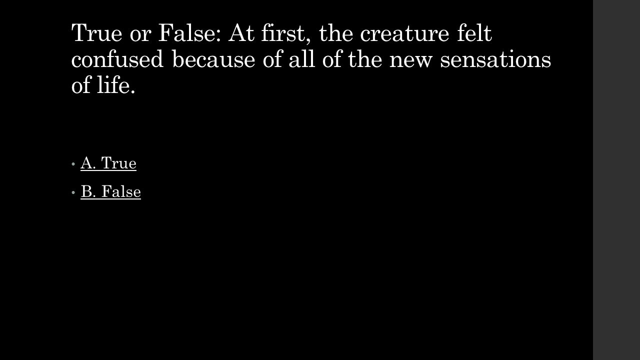 True or False: At first, the creature felt confused because of all of the new sensations of life.