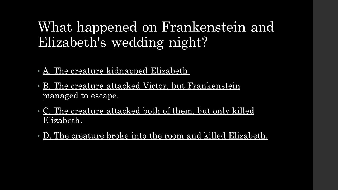 What happened on Frankenstein and Elizabeth s wedding night