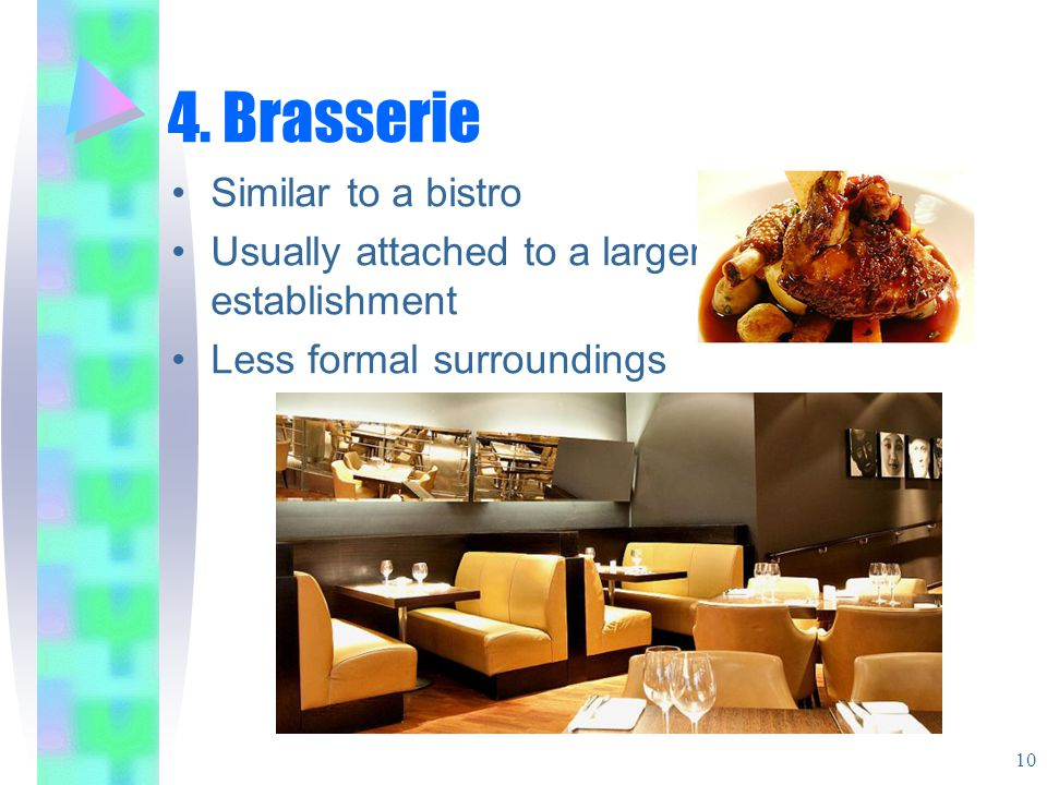 4. Brasserie Similar to a bistro