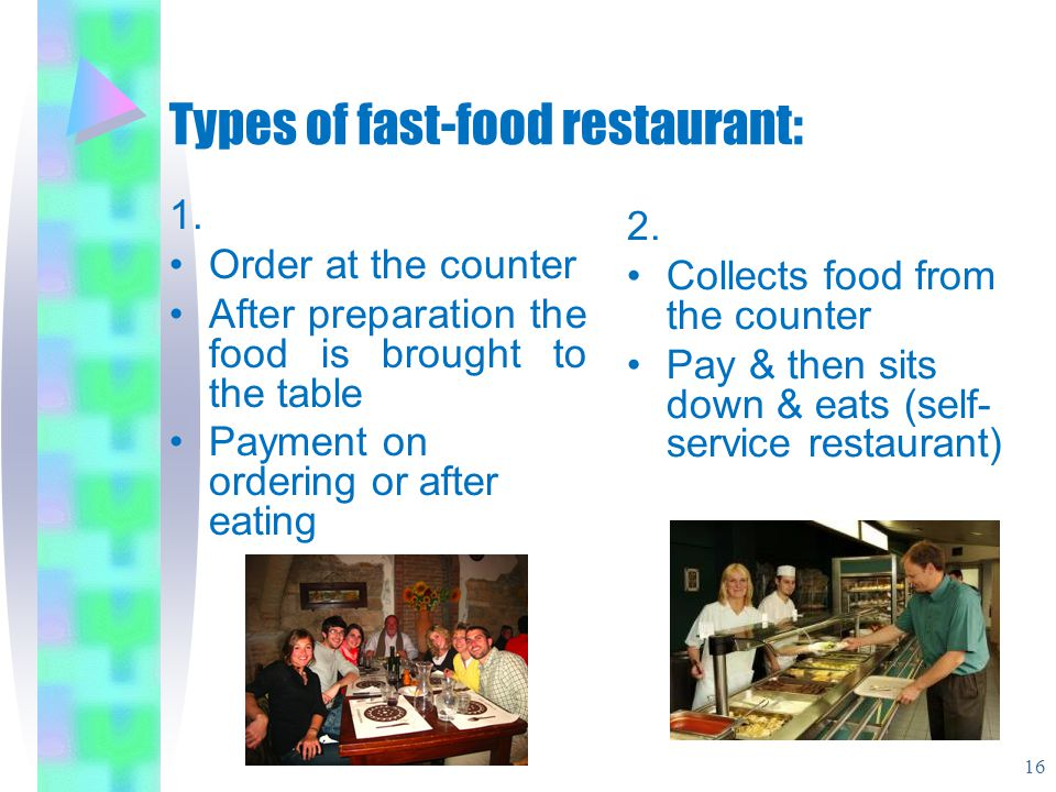 Types of fast-food restaurant: