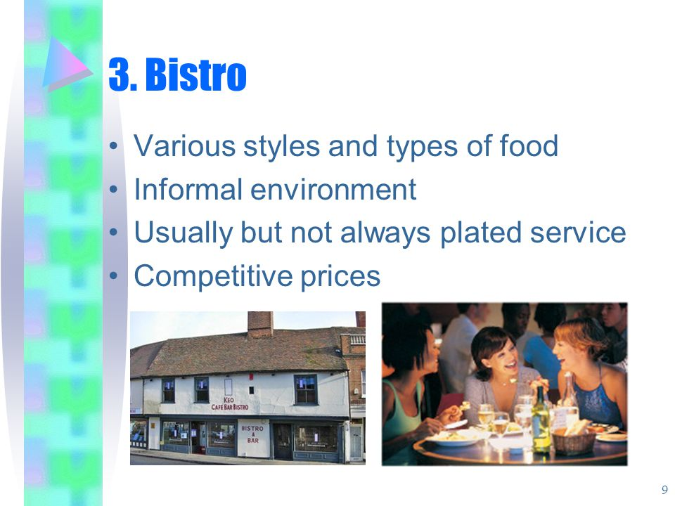 3. Bistro Various styles and types of food Informal environment