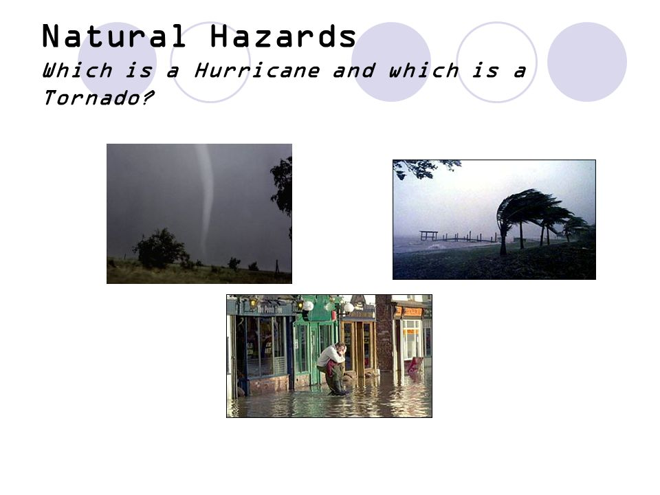 Natural Hazards Which is a Hurricane and which is a Tornado