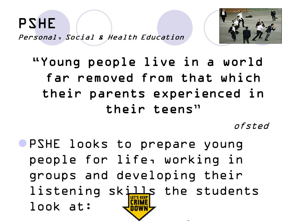 PSHE Personal, Social & Health Education