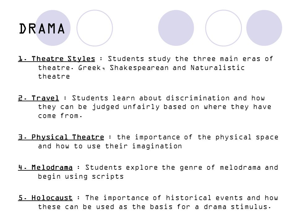 DRAMA 1. Theatre Styles : Students study the three main eras of theatre. Greek, Shakespearean and Naturalistic theatre.