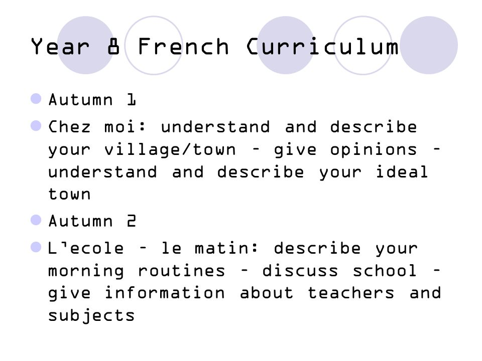 Year 8 French Curriculum