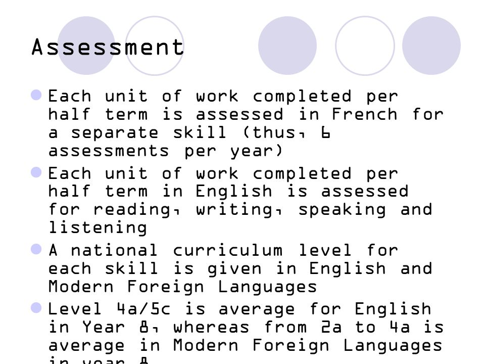 Assessment Each unit of work completed per half term is assessed in French for a separate skill (thus, 6 assessments per year)