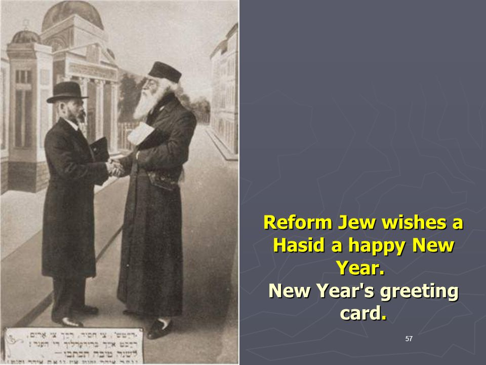 Reform Jew wishes a Hasid a happy New Year. New Year s greeting card.