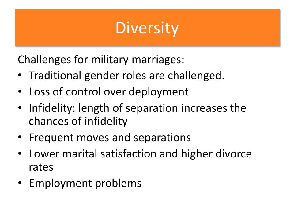 Diversity Challenges for military marriages: