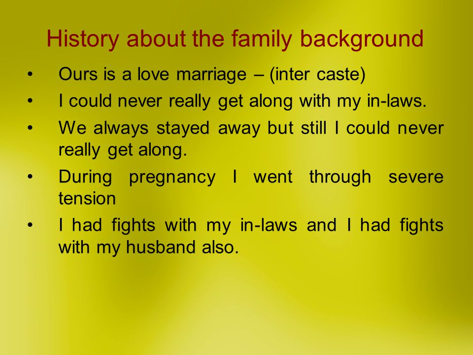 History about the family background