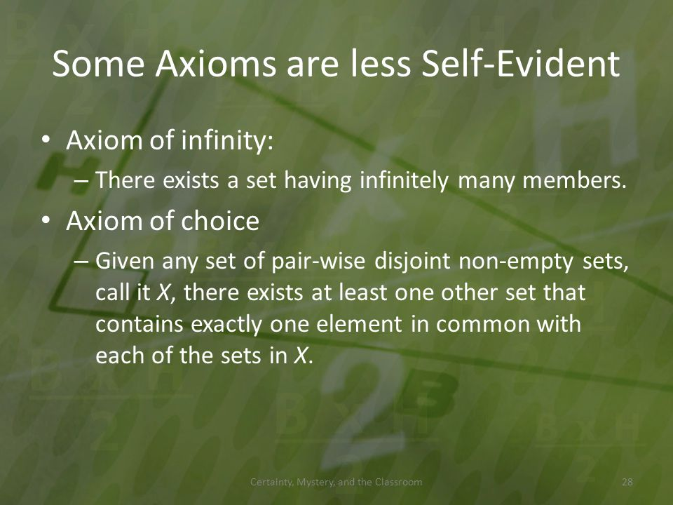 Some Axioms are less Self-Evident