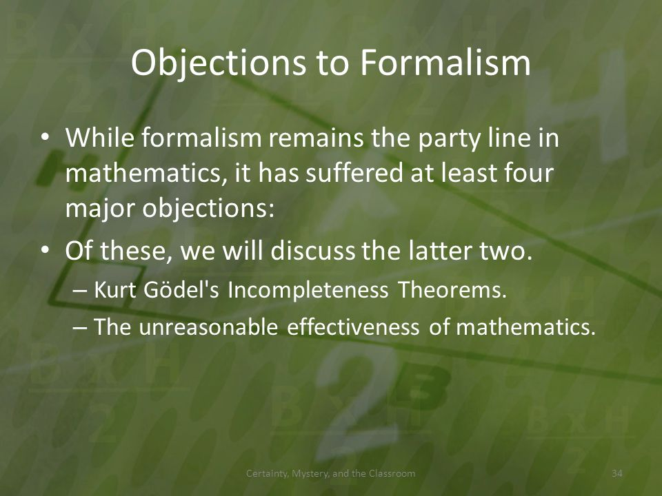 Objections to Formalism