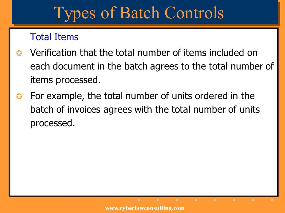 Types of Batch Controls