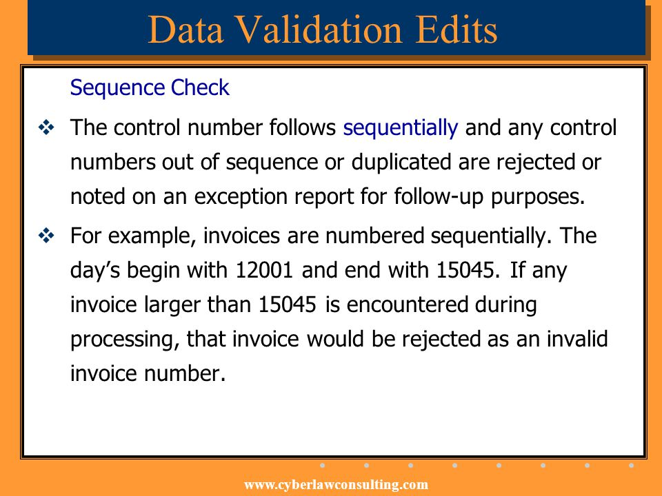 Data Validation Edits Sequence Check